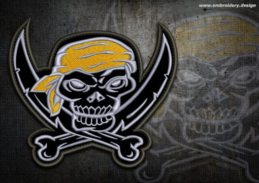 This Biker patch Skull Jolly Roger design was digitized and embroidered by www.embroidery.design.