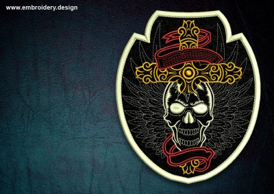 This Biker patch Skull with wings, transparent background design was digitized and embroidered by www.embroidery.design.