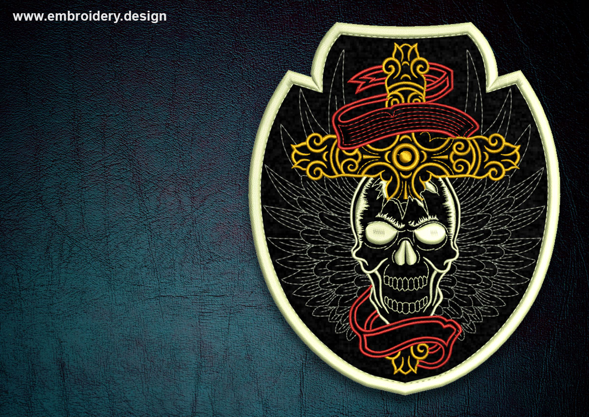 Biker Patch Skull With Wings Transparent Background