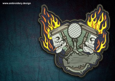 This Biker patch Skulls in flame, transparent background design was digitized and embroidered by www.embroidery.design.