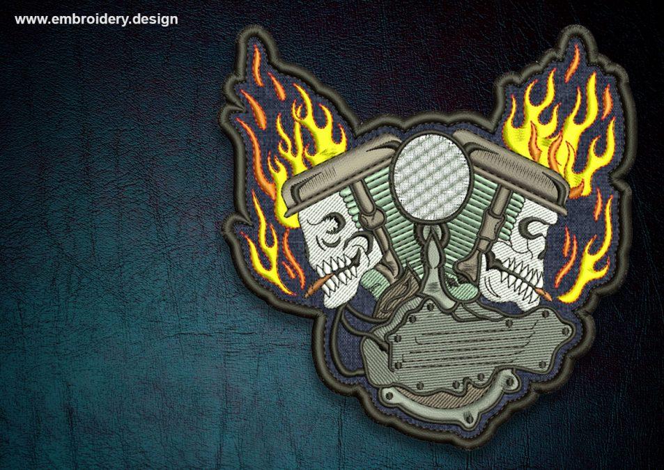 Biker patch Skulls in flame, transparent background