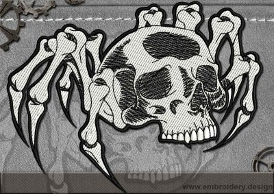 This Biker patch Spider Skull design was digitized and embroidered by www.embroidery.design.