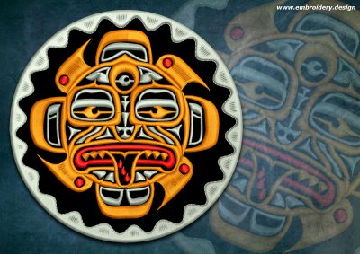 This Biker patch Tiki totem design was digitized and embroidered by www.embroidery.design.