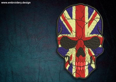 This Biker patch UK flag on skull design was digitized and embroidered by www.embroidery.design.