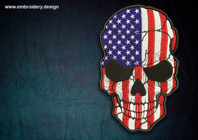 This Biker patch USA flag on skull design was digitized and embroidered by www.embroidery.design.