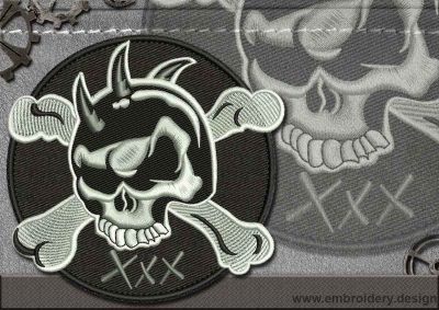 This Biker patch XXX design was digitized and embroidered by www.embroidery.design.