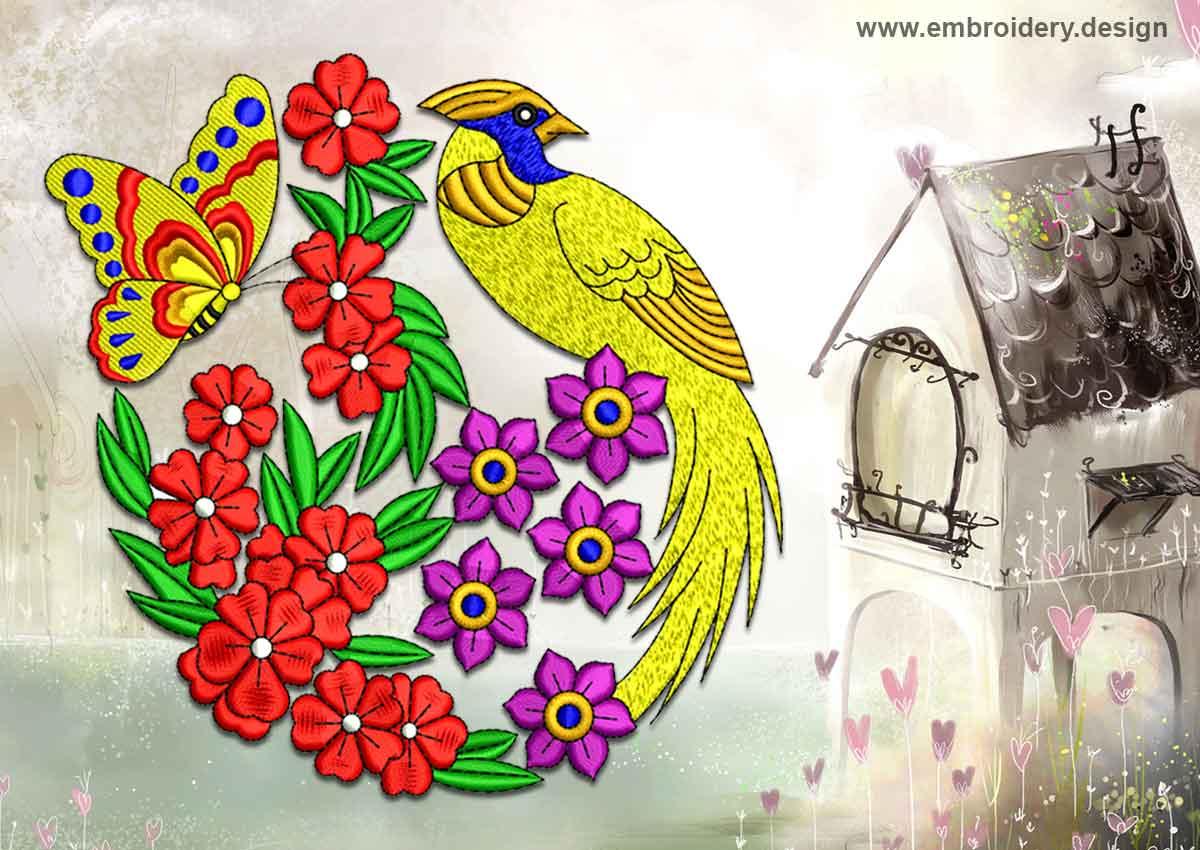 Bird On Flowering Meadow