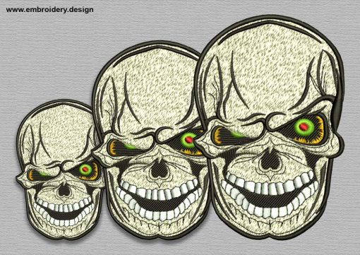 The embroidery design Bonkers skull