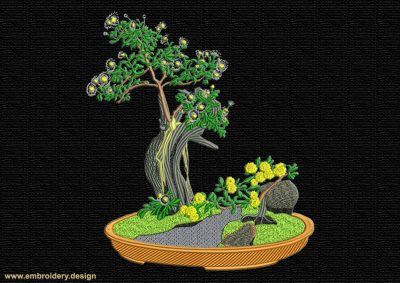 This Bonsai Oak design was digitized and embroidered by www.embroidery.design.