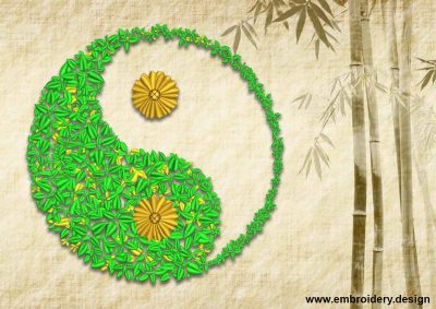 This Botanical Yin Yang design was digitized and embroidered by www.embroidery.design.