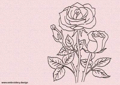 The embroidery design Bouquet of roses consists only of single-colored run stitch elements.