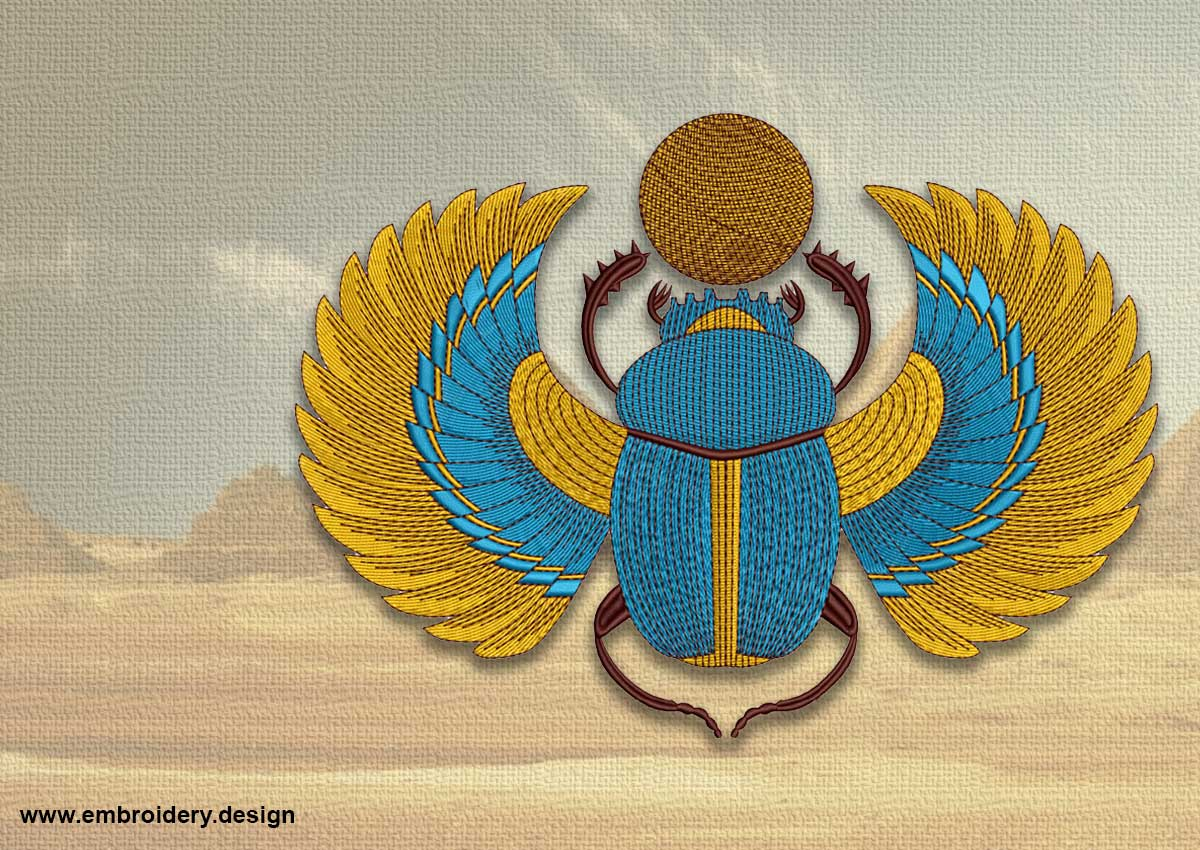 Bright Egyptian Scarab Embroidery Design
