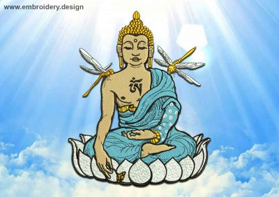This Buddha with dragonflies design was digitized and embroidered by www.embroidery.design.