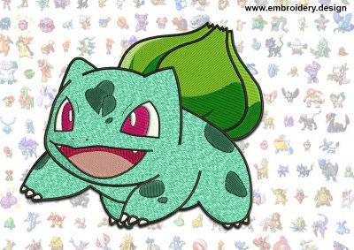 This Bulbasaur Pokemon design was digitized and embroidered by www.embroidery.design.