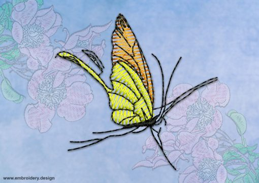 This Butterfly with translucent wings design was digitized and embroidered by www.embroidery.design.