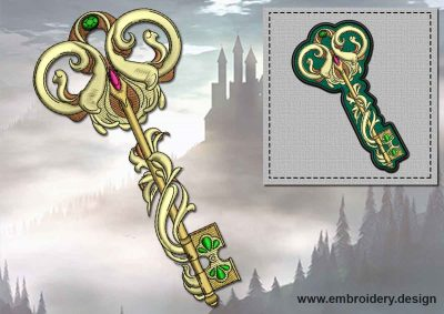This The Byzantine bijou key + embroidery design of patch design was digitized and embroidered by www.embroidery.design.