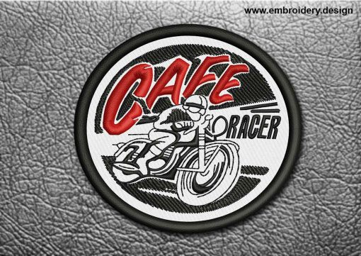 This Biker Patch Cafe Racer design was digitized and embroidered by www.embroidery.design.
