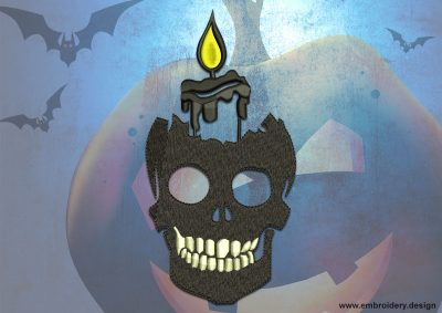 This Candle in skull design was digitized and embroidered by www.embroidery.design.