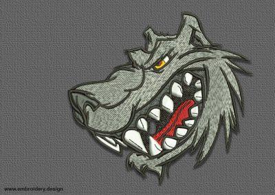 The qualitative embroidery design Cartoon head of wolf will look perfect to biker types of clothes.