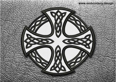 This Biker Patch Celtic Cross With Circle design was digitized and embroidered by www.embroidery.design.