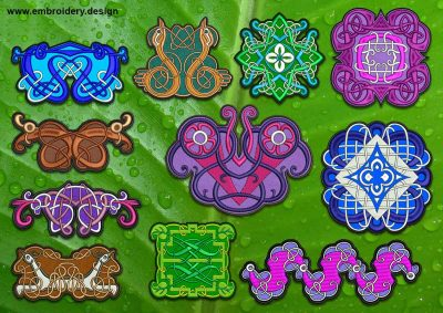 This Celtic Knots patches, transparent background embroidery designs pack design was digitized and embroidered by www.embroidery.design.