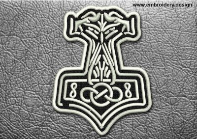 This Celtic Patch Ornament With Celtic Knot design was digitized and embroidered by www.embroidery.design.