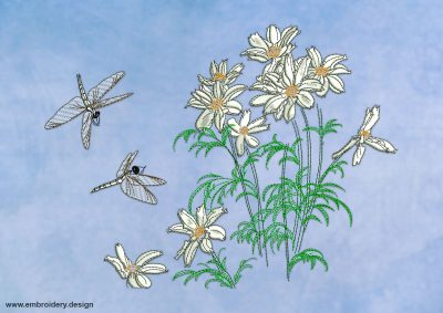 This Chamomiles with dragonflies design was digitized and embroidered by www.embroidery.design.