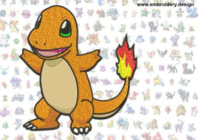 This Charmander Pokemon design was digitized and embroidered by www.embroidery.design.
