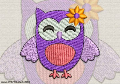 This Cheerful owl design was digitized and embroidered by www.embroidery.design.