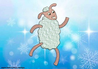 This Cheerful sheep design was digitized and embroidered by www.embroidery.design.
