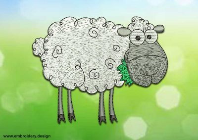 This Chewing sheep design was digitized and embroidered by www.embroidery.design.