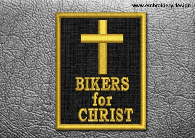 This Biker Patch Bikers For Christ in Rectangle design was digitized and embroidered by www.embroidery.design.