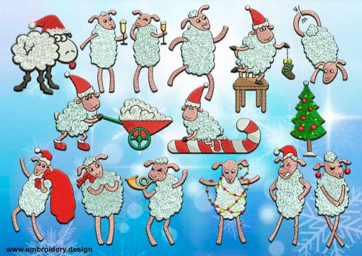This Christmas Sheep's pack design was digitized and embroidered by www.embroidery.design.