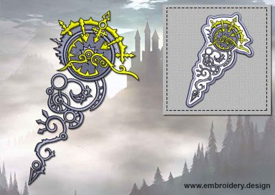This Clock in key + embroidery design of patch design was digitized and embroidered by www.embroidery.design.