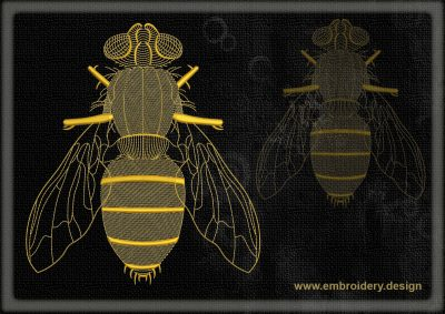This Contour fly design was digitized and embroidered by www.embroidery.design.
