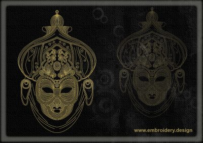 This Contour mask design was digitized and embroidered by www.embroidery.design.