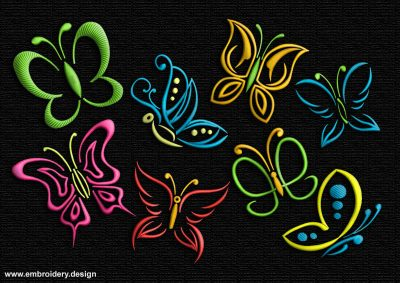 This Contoured butterflies' pack design was digitized and embroidered by www.embroidery.design.