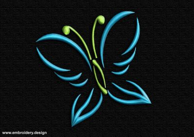 This Contoured lime-blue butterfly design was digitized and embroidered by www.embroidery.design.