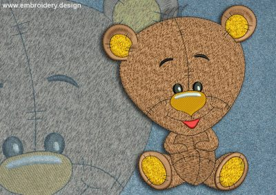 This Cool bear cub design was digitized and embroidered by www.embroidery.design.