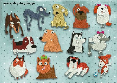 The pack of embroidery designs Cool dogs was created by EmbroSoft