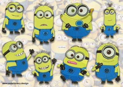 The pack of embroidery design Cool minions