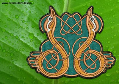 This Couple of ducks with Celtic Knot patch, transparent background design was digitized and embroidered by www.embroidery.design.