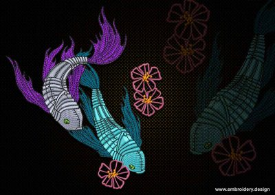 This Couple of fish design was digitized and embroidered by www.embroidery.design.