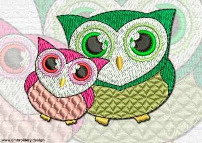 This Couple of owls design was digitized and embroidered by www.embroidery.design.