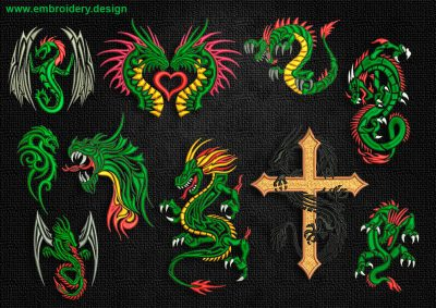 This Creative celtic dragons embroidery designs pack design was digitized and embroidered by www.embroidery.design.