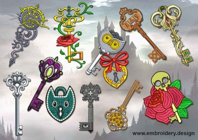 This Creative Keys + embroidery designs of patches pack design was digitized and embroidered by www.embroidery.design.
