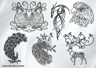 The pack of embroidery designs Creative outline animals