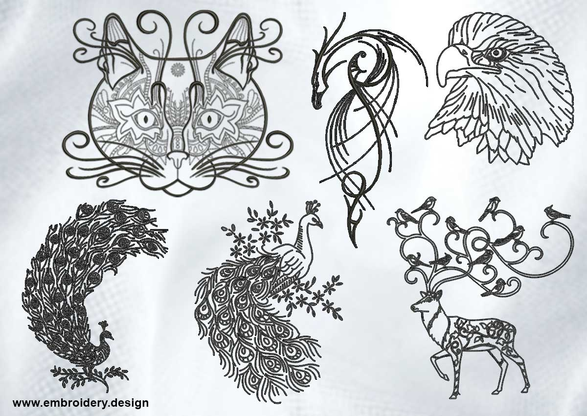 Creative outline animals embroidery designs