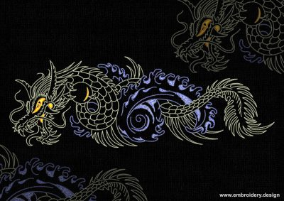 This Creeping dragon design was digitized and embroidered by www.embroidery.design.