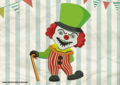 The embroidery design Creepy clown was created using combine of satin and tatami stitching elements.